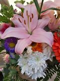 bunch of colorful flowers for Mother& x27;s Day!  Lilium and Gerbere flowers for the beautiful spring royalty free stock photo