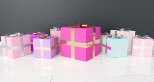 Bunch Of Gift Boxes On White Reflection Floor. 3D Rendering. Bunch Of Colorful Gift Boxes On White Reflection Floor. 3D Rendering Stock Image