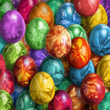 Bunch Of Colorful Hand Painted Easter Eggs Decorated With Weed Leaves Imprints Royalty Free Stock Photography