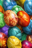 Bunch Of Colorful Hand Painted Easter Eggs Decorated With Weed Leaves Imprints Stock Image