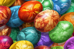Bunch Of Colorful Hand Painted Easter Eggs Decorated With Weed Leaves Imprints Stock Photo