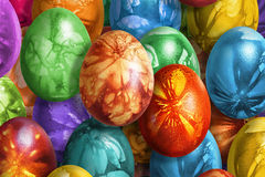 Bunch Of Colorful Hand Painted Easter Eggs Decorated With Weed Leaves Imprints Royalty Free Stock Photo