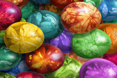 Bunch Of Colorful Hand Painted Easter Eggs Decorated With Weed Leaves Imprints Royalty Free Stock Image