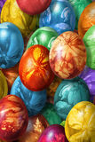 Bunch Of Colorful Hand Painted Easter Eggs Decorated With Weed Leaves Imprints. Bunch of colorful Easter Eggs, hand painted and decorated with Weed leaves Stock Photo