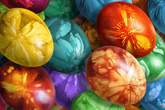 Bunch Of Colorful Hand Painted Easter Eggs Decorated With Weed Leaves Imprints Royalty Free Stock Images