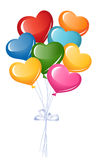 Bunch of colorful heart balloons Stock Photos
