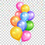 Bunch of colorful helium balloons  on transparent back. Ground. Party decorations for birthday, anniversary, celebration. Vector illustration Stock Photo