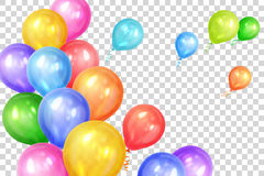 Bunch of colorful helium balloons  on transparent back. Ground. Party decorations for birthday, anniversary, celebration. Vector illustration Stock Photos