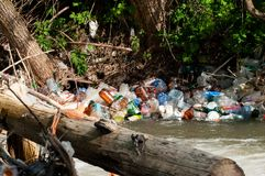 A bunch of colorful non degradable  plastic bottles. In the small river Royalty Free Stock Images