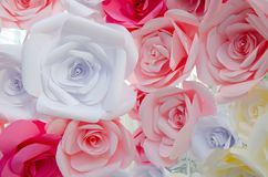 Bunch of Colorful Origami roses. Forming a floral background Royalty Free Stock Photos