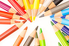 Bunch of colorful pencils Stock Photos