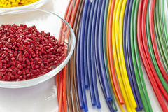 Bunch of colorful plastic tubes Stock Images