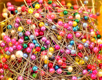 Colorful sewing pins Stock Photography