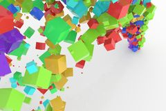 Bunch of colorful square boxes flow from the floor, modern style background or texture. Good for party, celebrations, festival or anniversary backdrop. 3D Stock Photos