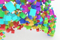 Bunch of colorful square boxes flow from the floor, modern style background or texture. Good for party, celebrations, festival or anniversary backdrop. 3D Stock Photography