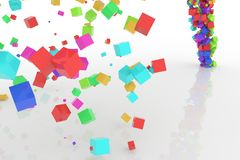 Bunch of colorful square boxes flow from the floor, modern style background or texture. Concept, festive, party & graphic. Bunch of colorful square boxes flow Stock Images