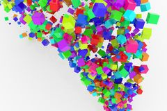 Bunch of colorful square boxes flow from the floor, modern style background or texture. Festive, flying, design & backdrop. Bunch of colorful square boxes flow Stock Images