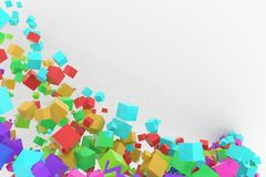 Bunch of colorful square boxes flow from the floor, modern style background or texture. Messy, floating, concept & celebrations. Bunch of colorful square boxes Royalty Free Stock Images