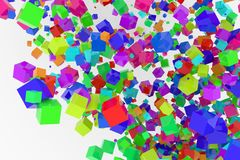 Bunch of colorful square boxes flow from the floor, modern style background or texture. Messy, shape, celebrations & party. Bunch of colorful square boxes flow Royalty Free Stock Photography