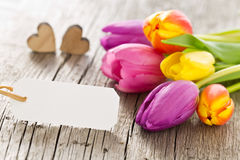 Bunch of colorful tulips with wooden hearts with a labe Royalty Free Stock Images