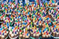 Bunch of colorful vivid pencils on market royalty free stock photo