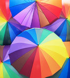 Bunch of colorful vivid umbrellas Royalty Free Stock Images