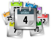 Bunch of coloured calendar pages Stock Photo