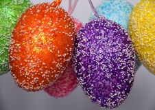 Bunch of colourful panted plastic easter eggs Royalty Free Stock Photography