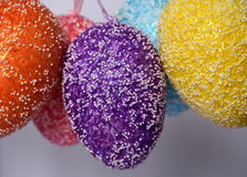 Bunch of colourful panted plastic easter eggs. With white dots. Easter Paschal eggs are decorated eggs that are usually used as gifts on the occasion of Easter Stock Images