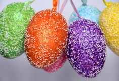 Bunch of colourful panted plastic easter eggs Royalty Free Stock Images