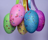 Bunch of colourful panted plastic easter eggs. With white dots. Easter Paschal eggs are decorated eggs that are usually used as gifts on the occasion of Easter Stock Photos