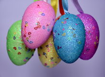 Bunch of colourful panted plastic easter eggs. With white dots. Easter Paschal eggs are decorated eggs that are usually used as gifts on the occasion of Easter Royalty Free Stock Photo
