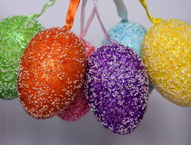 Bunch of colourful panted plastic easter eggs. With white dots. Easter Paschal eggs are decorated eggs that are usually used as gifts on the occasion of Easter Royalty Free Stock Image