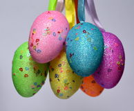 Bunch of colourful panted plastic easter eggs. With white dots. Easter Paschal eggs are decorated eggs that are usually used as gifts on the occasion of Easter Royalty Free Stock Photos