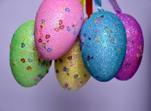 Bunch of colourful panted plastic easter eggs. With white dots. Easter Paschal eggs are decorated eggs that are usually used as gifts on the occasion of Easter Stock Image