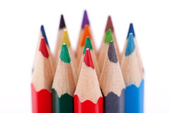 Bunch of colourful pencil crayons on white Royalty Free Stock Image