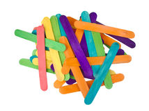 Bunch of colourful popsicle sticks for arts and Stock Images
