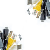 Bunch of computer cables with sockets isolated on a white background. USB cables. LAN cable Royalty Free Stock Images