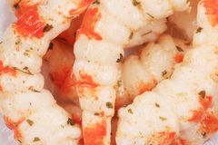 Bunch of cooked unshelled tiger shrimps. Royalty Free Stock Photography