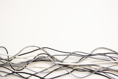 Bunch of cords. Different textures of cords on a white background royalty free stock photos