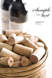 Bunch of corks into barrel Stock Photos
