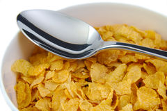 Bunch of corn flake cereals with a metal spoon Stock Photos