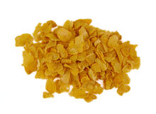 Bunch of corn flake cereals on a white background Stock Photography
