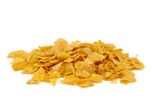 Bunch of corn flake cereals on a white background Royalty Free Stock Photography