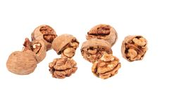 Bunch of cracked walnuts. Stock Images