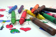 Bunch of Crayons Stock Photography