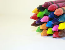 Bunch of Crayons. Stack of colored crayons on a white background Royalty Free Stock Photo
