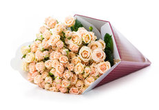 Bunch of cream roses in paper packaging Royalty Free Stock Images