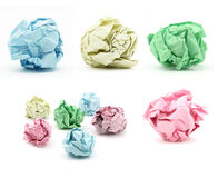 Bunch of cumbled color paper. On white backgound stock photos