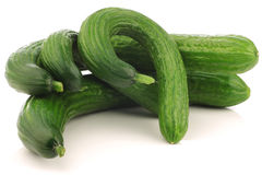 Bunch of curly turkish cucumbers stock images